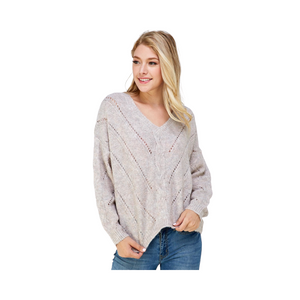 Lumiere Long Sleeve V Neck Knit Sweater