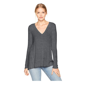 Michael Stars Madison Brushed V-Neck L/S Charcoal