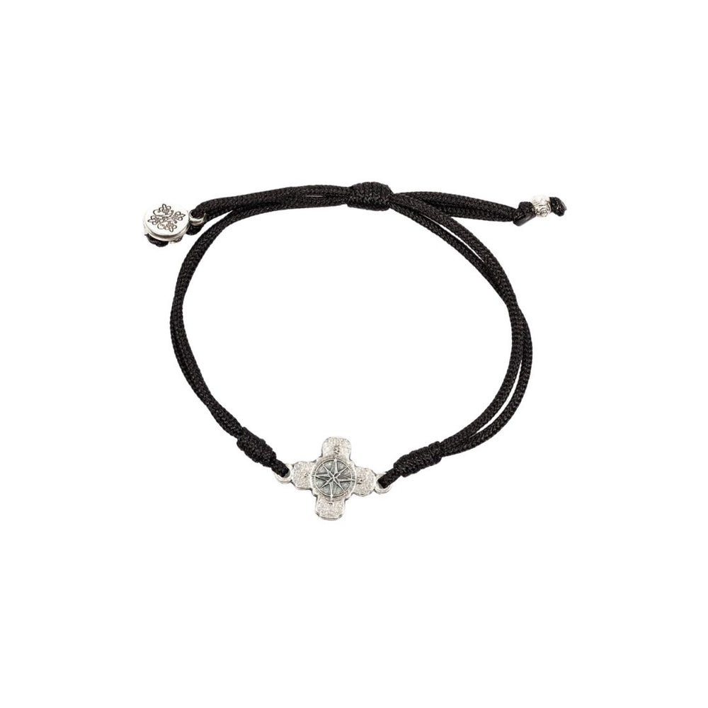 My Saint My Hero True North Compass Cross Anklet, Black/Silver