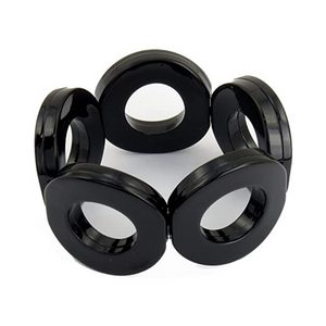 ZENZII Resin Circle Stretch Bracelet - Black.