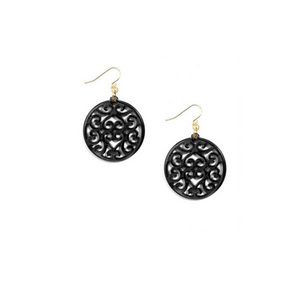 Load image into Gallery viewer, ZENZII Resin Drop Swirled Circle Cut-Out Earring - Black.