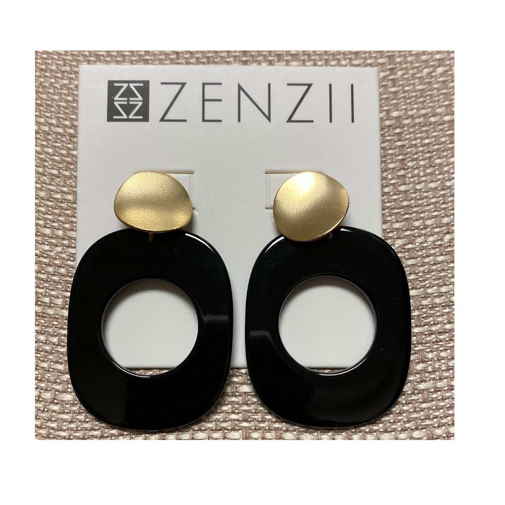 ZENZII Door Knocker Oval Resin Earring