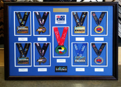 Karate Medals Framed, Framed Medals, Local Picture Framing, Sporting Memorabilia, Framed Sports Memorabilia