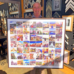Travel photos, Travel mementos, holiday pictures, Framed holiday photo's, custom picture framing, photo canvas grid, Melton picture framing