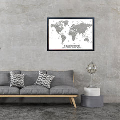 World Map Pinboard Framed, Map of the World Poster, World Map Wall Art, Framed Pinboard, Grey and White
