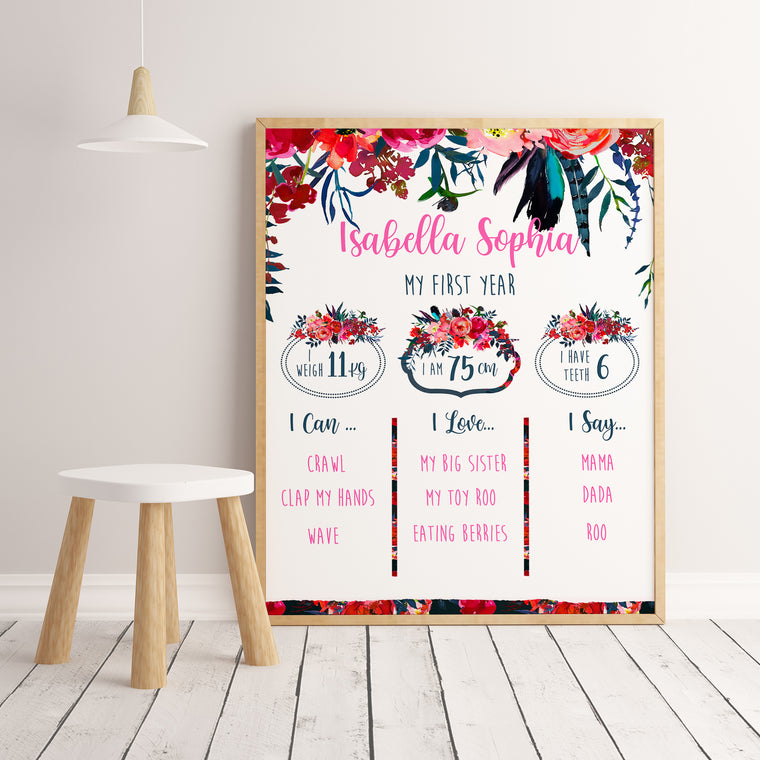 Baby's First Year Milestone Birthday Board, Custom Design Print celebrating Baby's first year Milestones