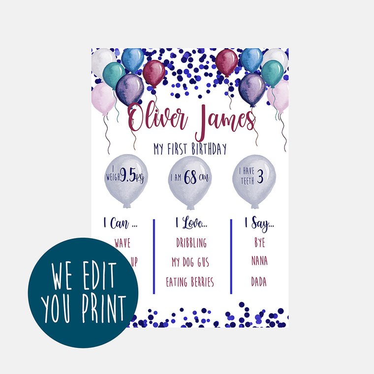 Baby Milestone Board, First Birthday Print, Birthday Decorations, Baby's First Year, First Birthday Sign, Custom Birthday Sign, Digital Download, Digital Print, Milestone Digital, Download Print, First Year Stats, Personalized Baby, Baby's 1st Birthday