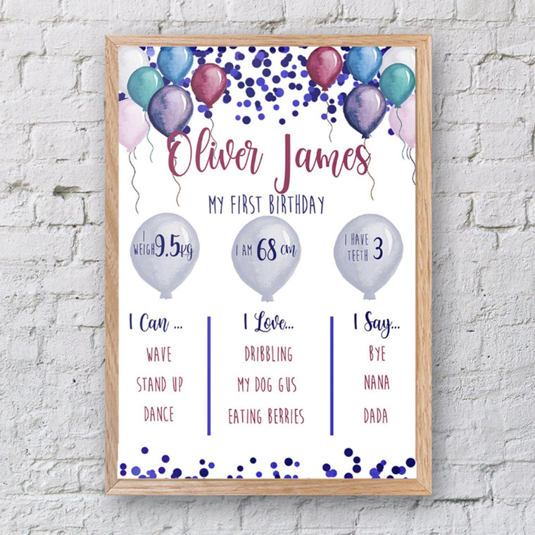 Baby Milestone Board, First Birthday Print, Birthday decorations, Baby's First Year, First Birthday Sign, Custom Birthday Sign