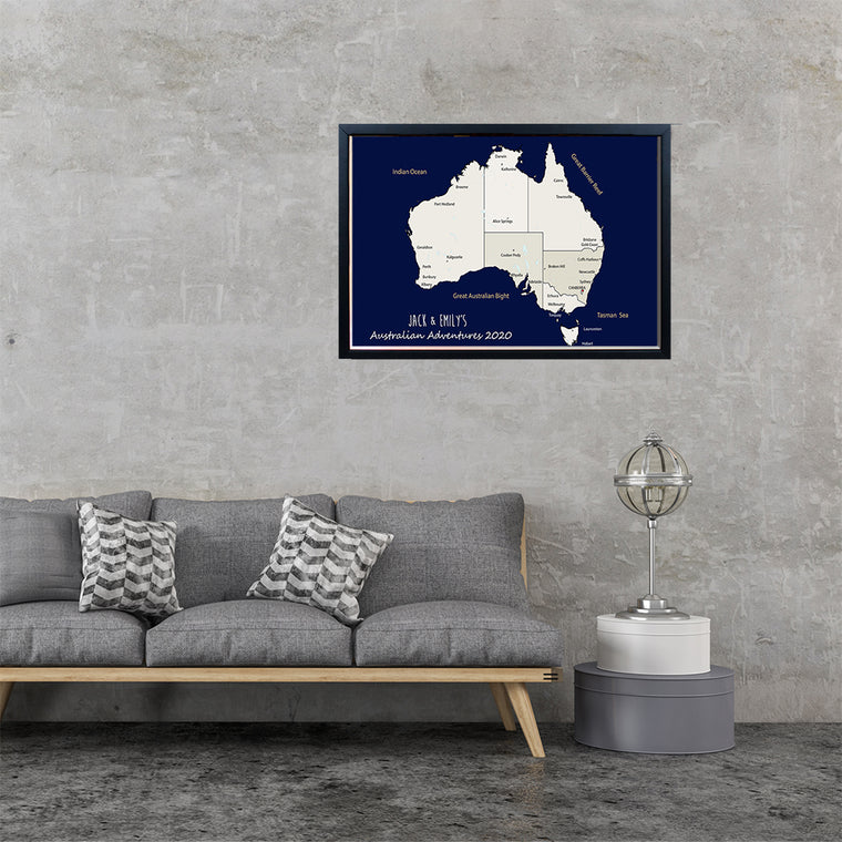 A2 Personalised Australia Map Framed Pin Board