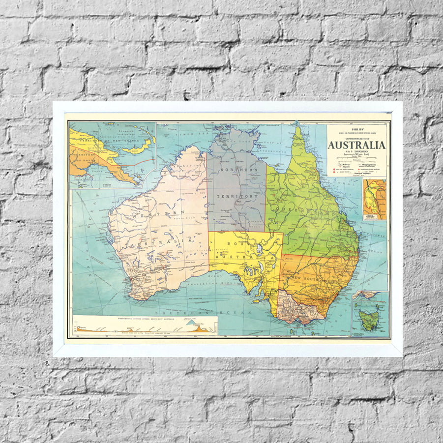 Australia On A Map.Australia Vintage Map Framed Pinboard