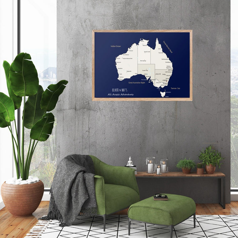 Personalised Large Framed World Map Pinboard, World Map Wall Art, Travel Map Wall Art, Framed Pin Board