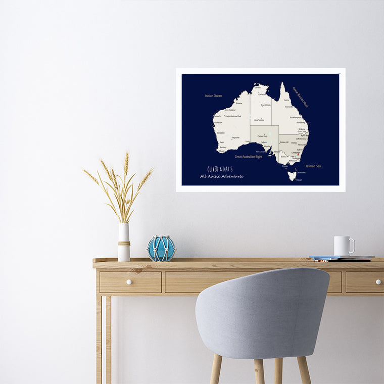 Personalised Framed AUSTRALIA Map Pinboard, Australian Map Wall Art, Travel Map Wall Art, Framed Pin Board