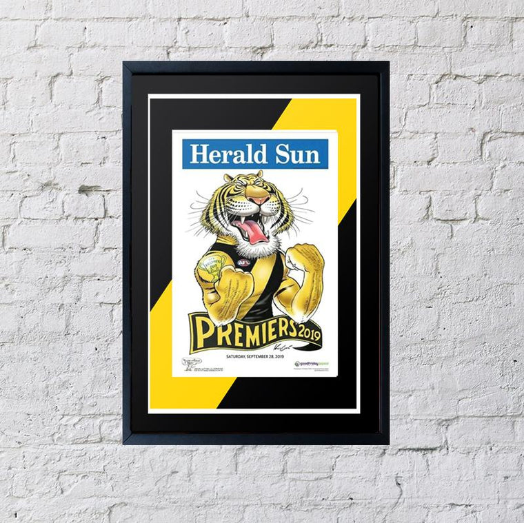 Richmond Tigers Premiership Framed Poster 2019, 2019 Premiers, Mark Knight Richmond 2019, Framed Premiership Poster, AFL Football Premiership