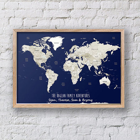 Personalised Map, World Map Pin Board, Framed World Map, Custom Travel Map, World Map Wall Art, Framed Pin Board, Travel Map Pin Board, Wedding Gift map, Couples Gift, World Map Art, World Travel Map, Push Pin Travel Map, Framed Push Pin Map
