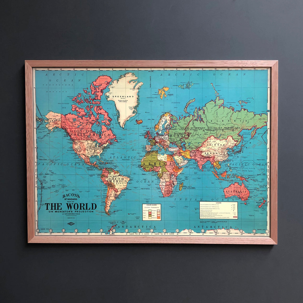 Around The World Framed Vintage Map Pinboard