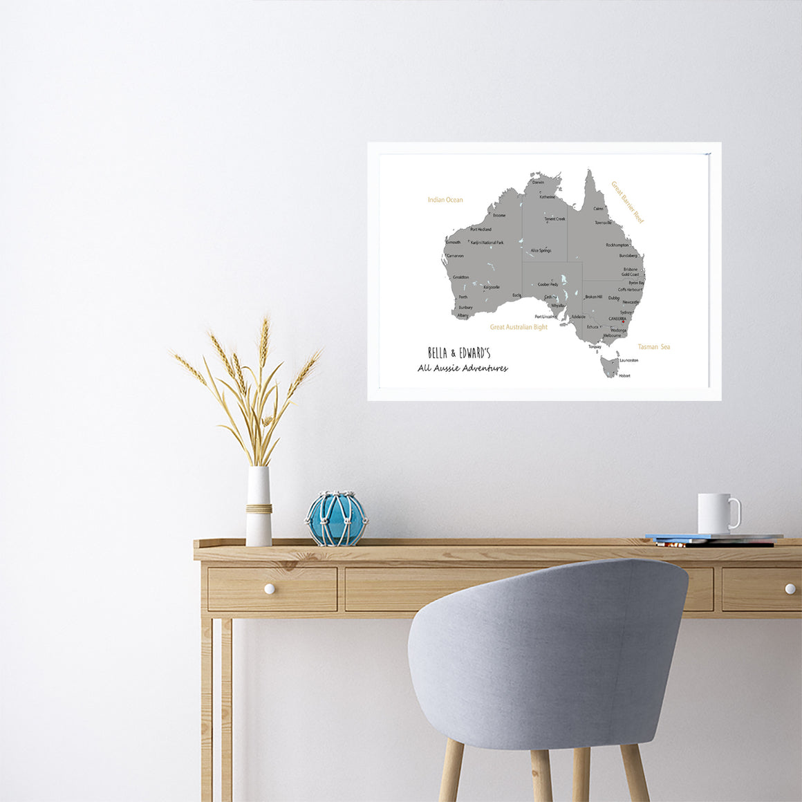 Personalised Large Framed AUSTRALIA Map Pinboard, Australian Map Wall Art, Travel Map Wall Art, Framed Pin Board