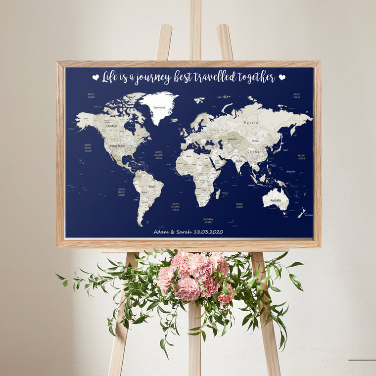 100x70cm Large Personalised World Map Framed Pin Board Wedding Gift