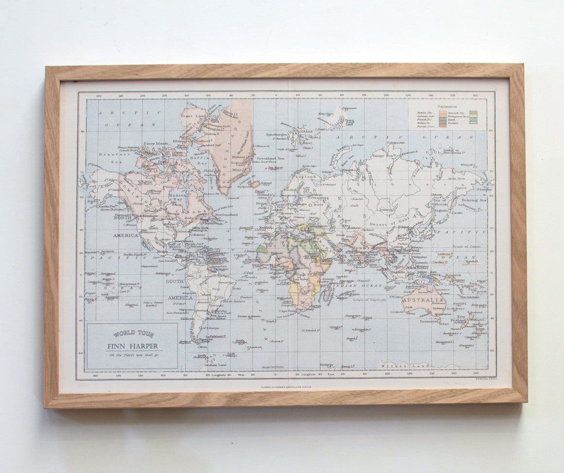 Personalised World Map Pinboard, World Map Poster, World Map Pinboard, World Map Pin Board, Custom Framed Map Pinboard