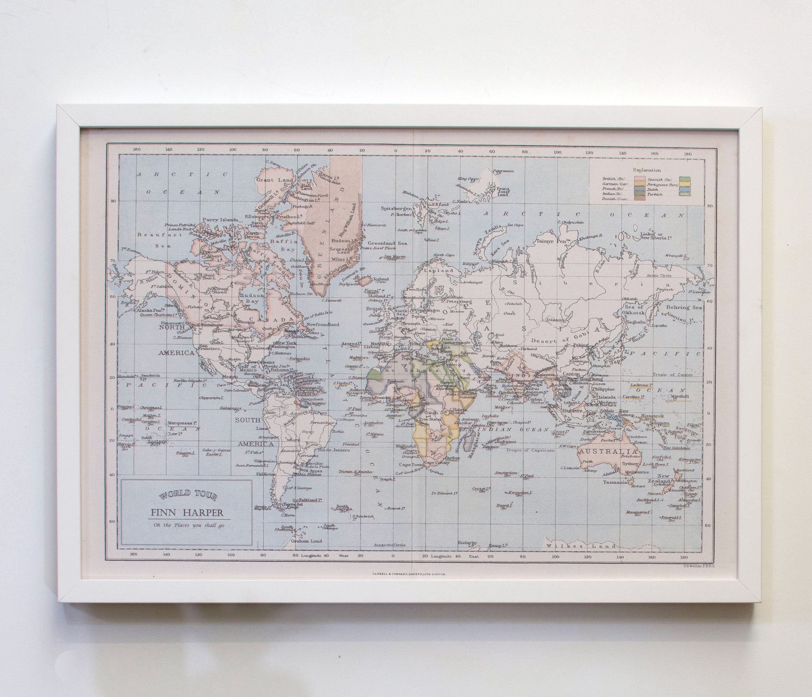 Personalised around the world framed map pinboard bespoke art personalised around the world map pinboard gumiabroncs Image collections
