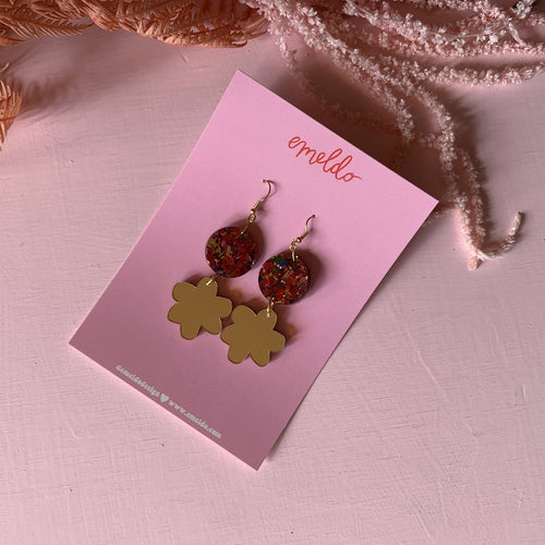 Wild Wendy Earrings // Carnival Red Glitter with Gold Mirror by Emeldo
