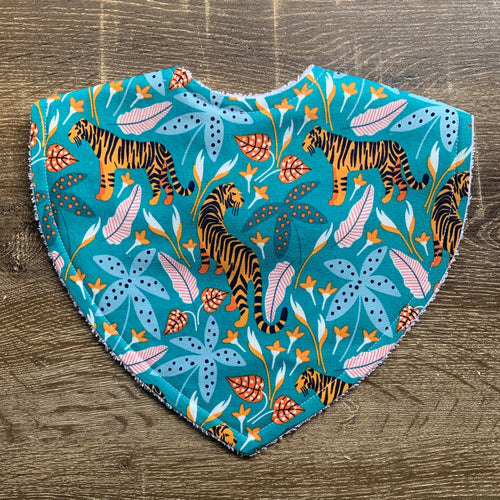 The Tiny Garden Tigers Tropical Lush Pastel Triangle Bib