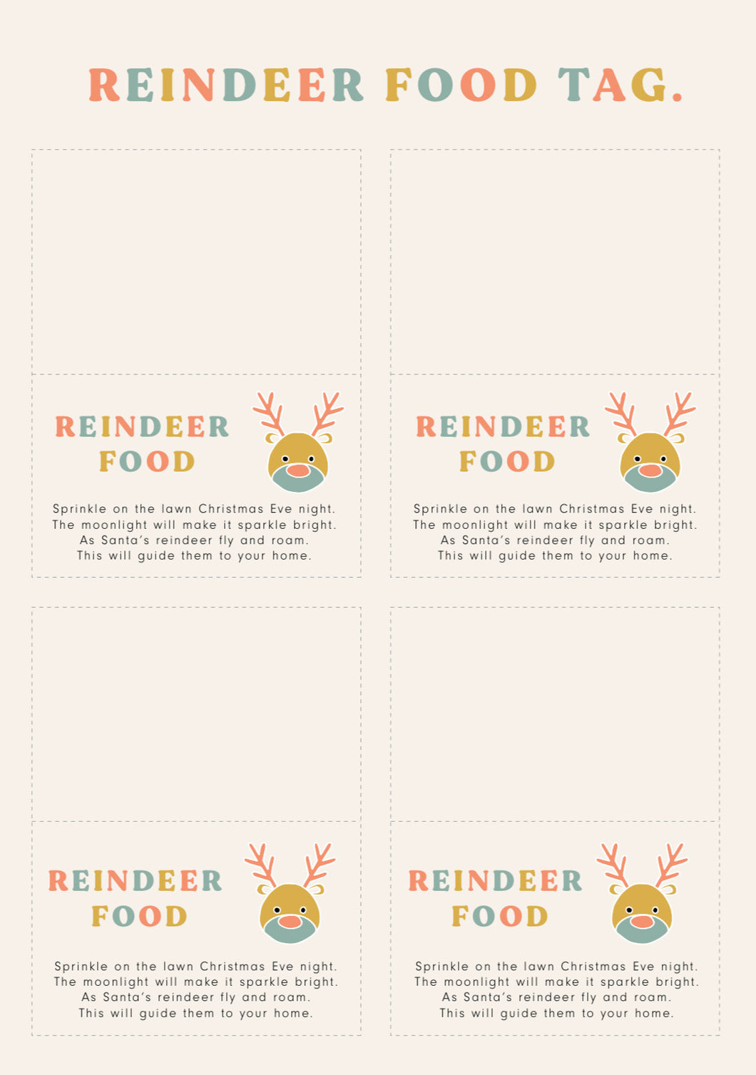 Reindeer Food Tag // FREE CHRISTMAS PRINTABLE