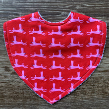Load image into Gallery viewer, Rabbits Pink & Red Triangle Bib