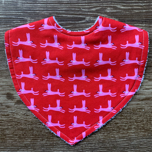 Rabbits Pink & Red Triangle Bib