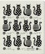 CATS (BLACK) - SWEDISH DISHCLOTH
