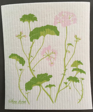 GERANIUMS - SWEDISH DISHCLOTH