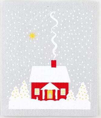 SNOWY HOUSE - SWEDISH DISHCLOTH