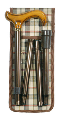 Folding Cane - Adjustable Derby, Brown with Wallet