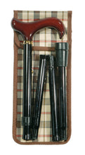 Folding Cane - Adjustable Derby, Black with Wallet