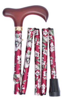 Folding Cane - Burgundy Floral, Burgundy Handle - Handbag Size