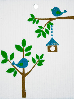 BIRDS WITH BIRDHOUSE - SWEDISH DISHCLOTH