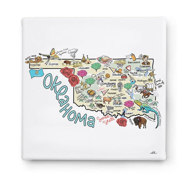 Oklahoma Map Square Canvas Art