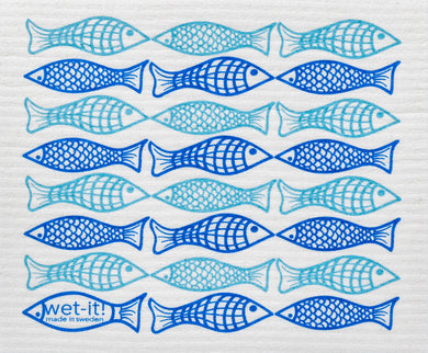 FISH - CATCH OF THE DAY BLUE - SWEDISH DISHCLOTH