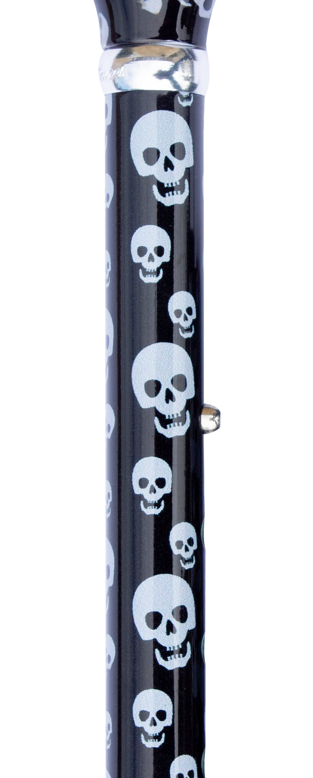 Folding Cane - Contemporary Chic Derby, Adjustable, Skulls