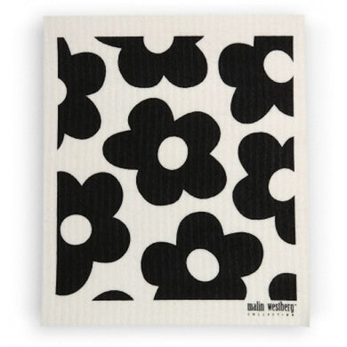 BLOMMOR FLOWERS - BLACK - SWEDISH DISHCLOTH
