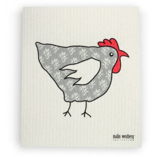 CHICKEN TAPETHONA - GREY - SWEDISH DISHCLOTH