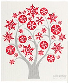 SNOWFLAKE TREE - RED - SWEDISH DISHCLOTH
