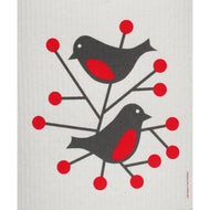 BIRDS - RED - SWEDISH DISHCLOTH