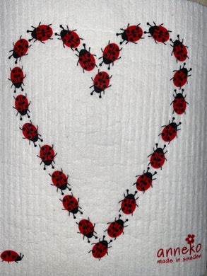LADYBUG HEART - SWEDISH DISHCLOTH