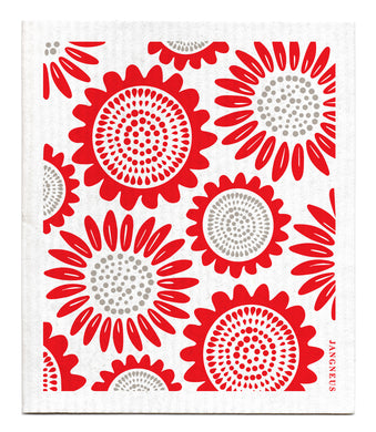 SUNFLOWER - RED  - SWEDISH DISHCLOTH