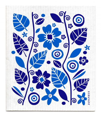 FLOWERS & LEAVES - BLUE - SWEDISH DISHCLOTH