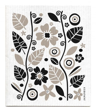 FLOWERS & LEAVES - BLACK - SWEDISH DISHCLOTH
