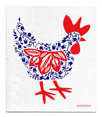 CHICKEN - ROOSTER - BLUE - SWEDISH DISHCLOTH