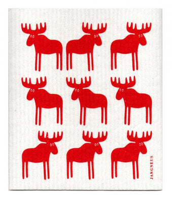 MOOSE - RED - SWEDISH DISHCLOTH
