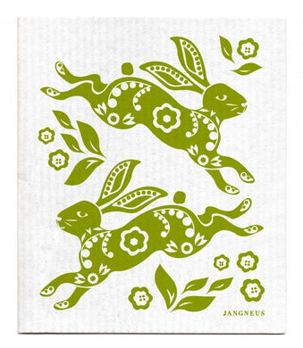 HARE-RABBIT-GREEN- SWEDISH DISHCLOTH