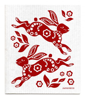HARE-RABBIT-RED- SWEDISH DISHCLOTH